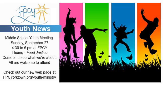 Youth Group First Meetings September 27 First